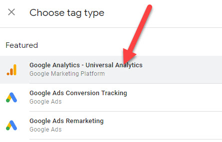 Choose Google Analytics Predefined tag type in Google Tag Manager