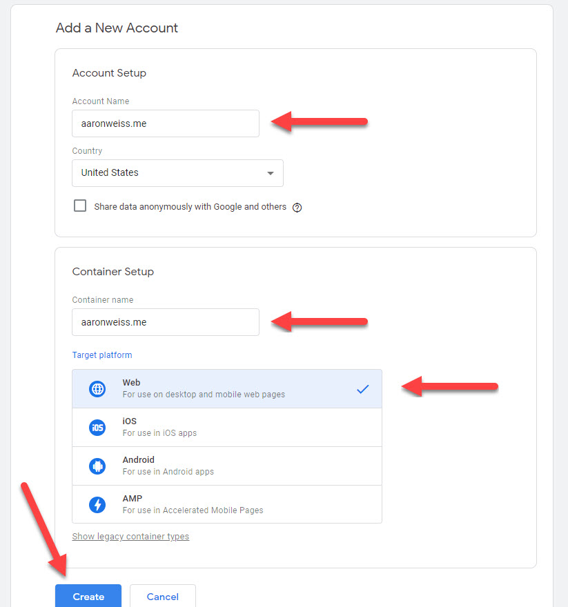Setup your Google Tag Manager Account