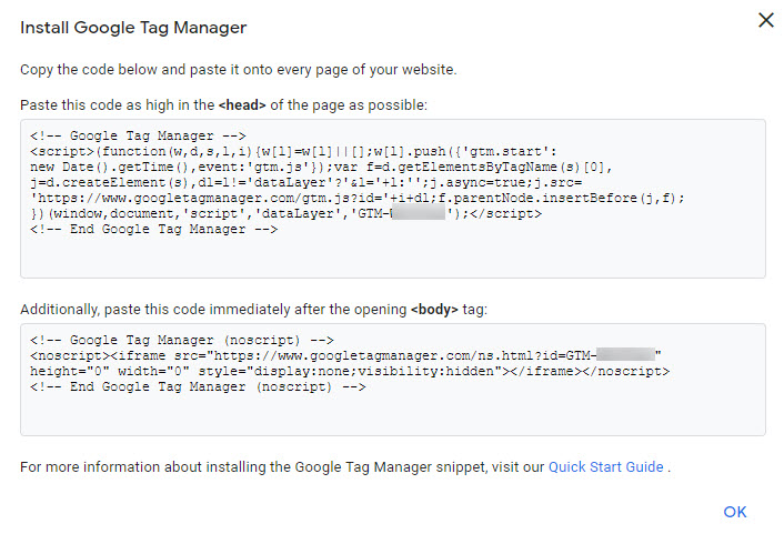 Google Tag Manager Code and Installation Instructions