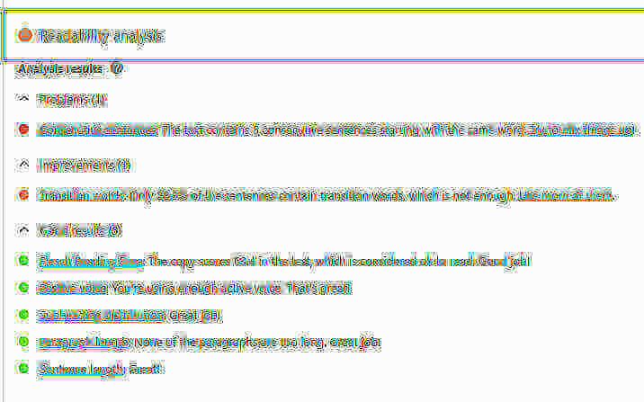 Example of Yoast SEO's Readability Suggestions